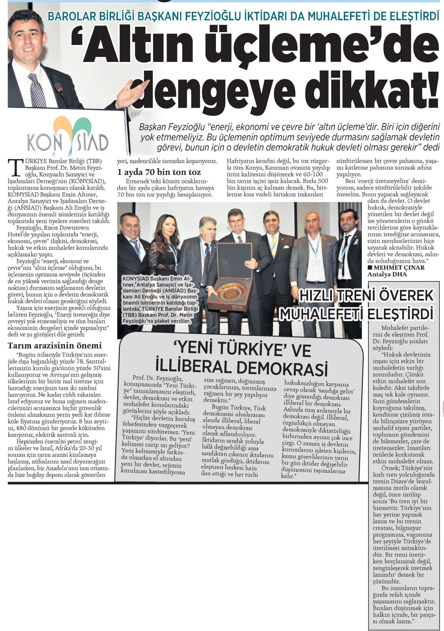 Milliyet Akdeniz, Alt�n ��leme'de dengeye dikkat