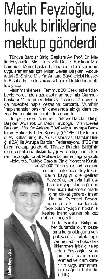 Dost Haber, Metin Feyzio�lu, hukuk birliklerine mektup g�nderdi
