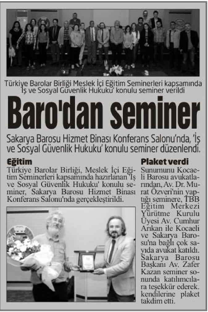 Yeni G�n, Baro'dan seminer