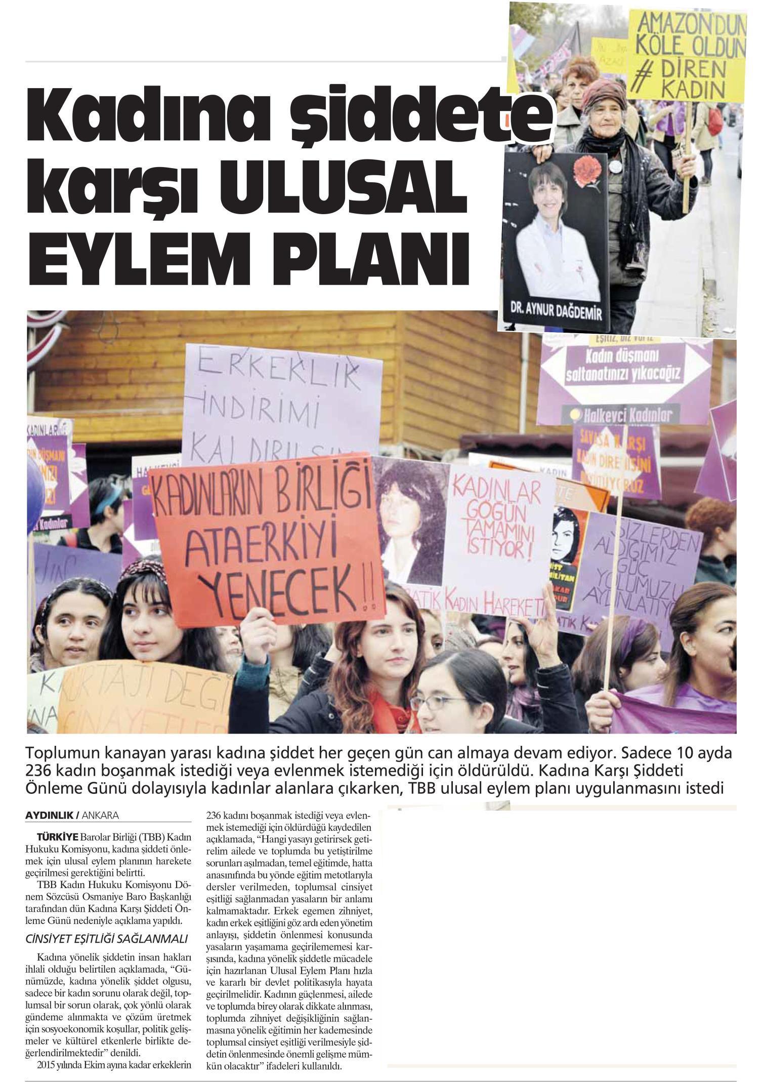 Ayd�nl�k Gazetesi, Kad�na �iddete kar�� ULUSAL EYLEM PLANI