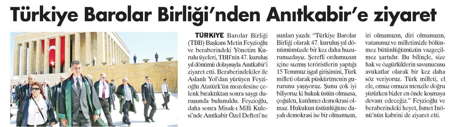 Yeni �a�, T�rkiye Barolar Birli�i'nden An�tkabir'e Ziyaret