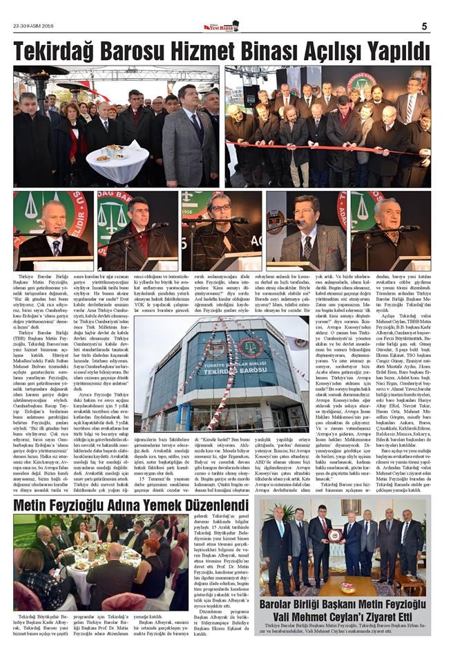 Tekirdağ Yeni Haber Gazetesi, Tekirdağ Barosu Hizmet Binası Açılışı Yapıldı