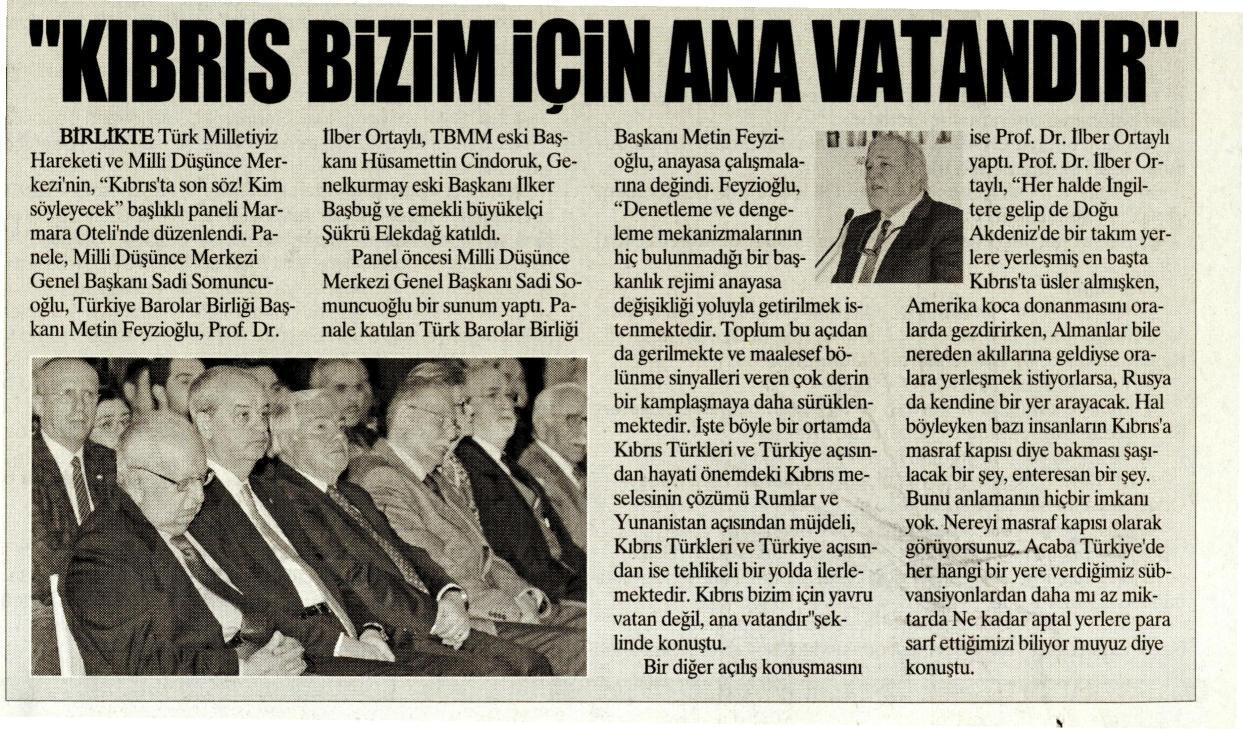 Yurt Gazetesi, Kıbrıs bizim için anavatandır
