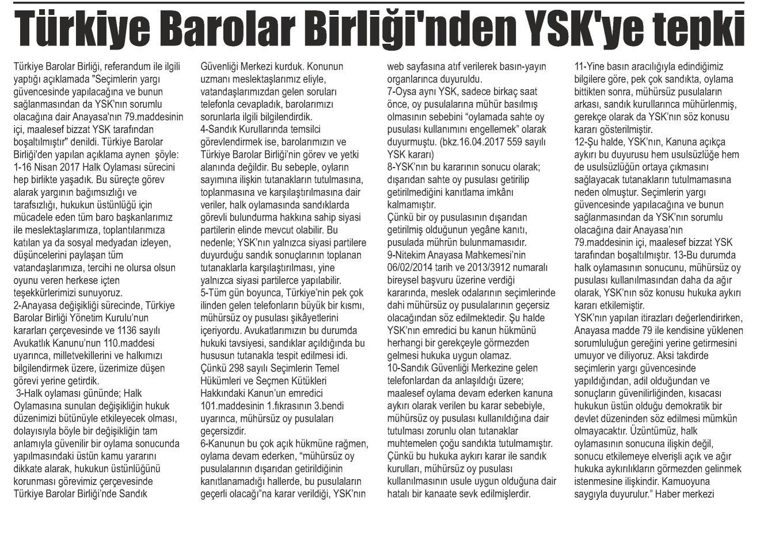 Güney, Türkiye Barolar Birliği'nden YSK'ye tepki