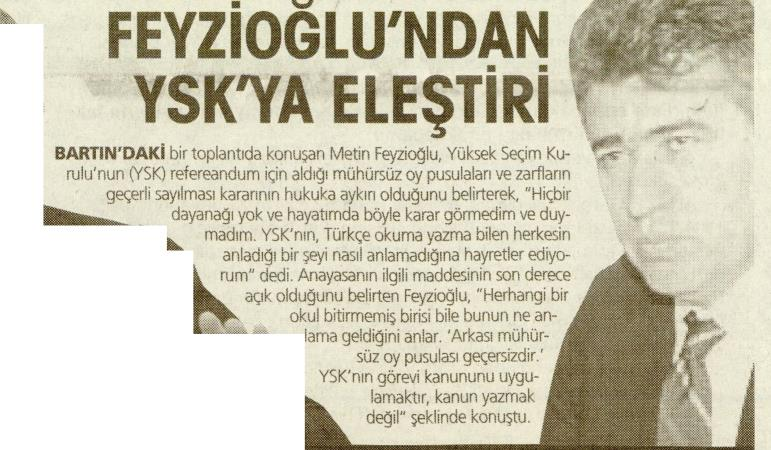 Yurt Gazetesi, Feyzioğlu'ndan YSK'ya Eleştiri