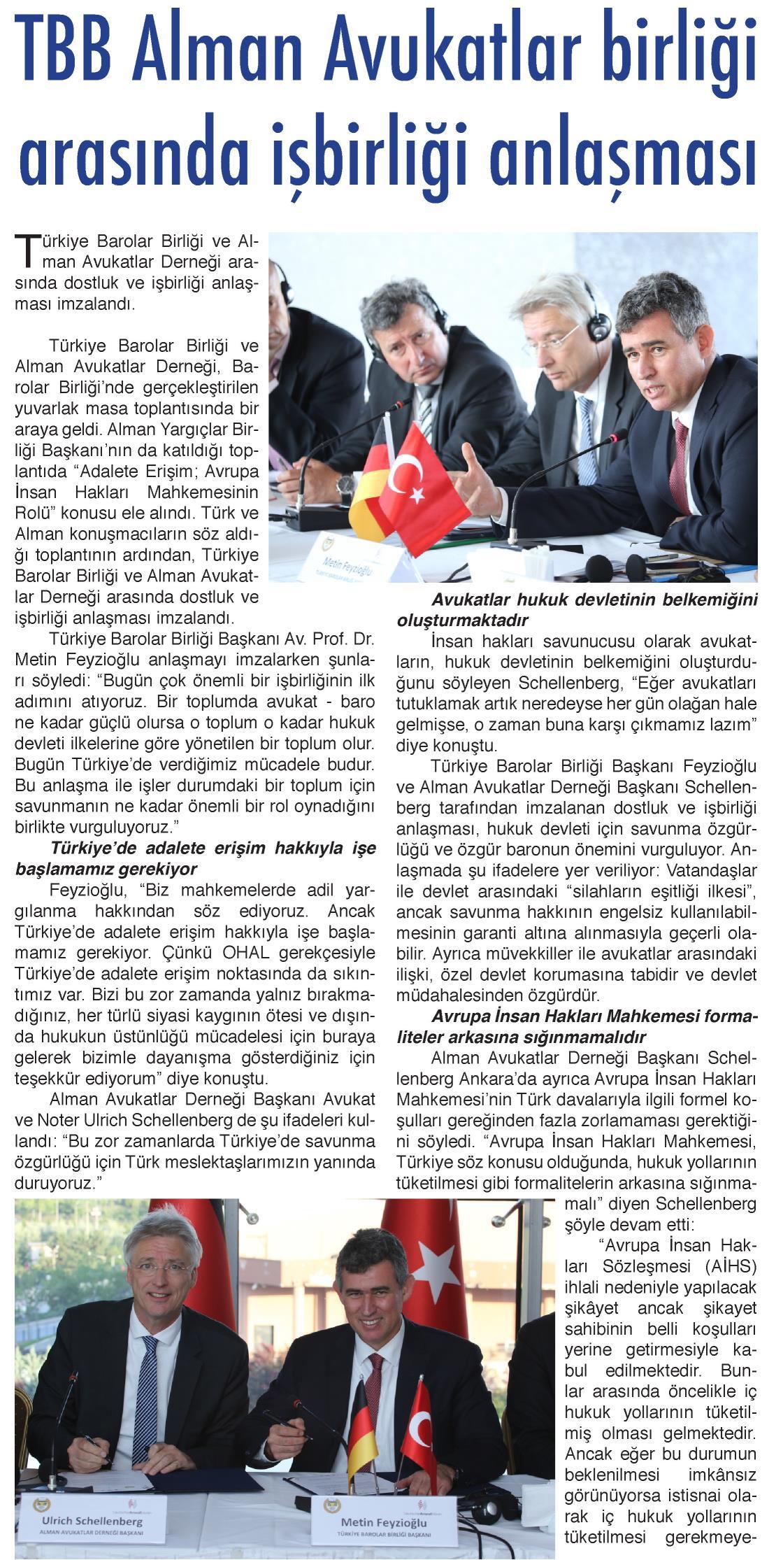 Yerel - Burdur, TBB Alman Avukatlar Birliği arasında işbirliği anlaşması