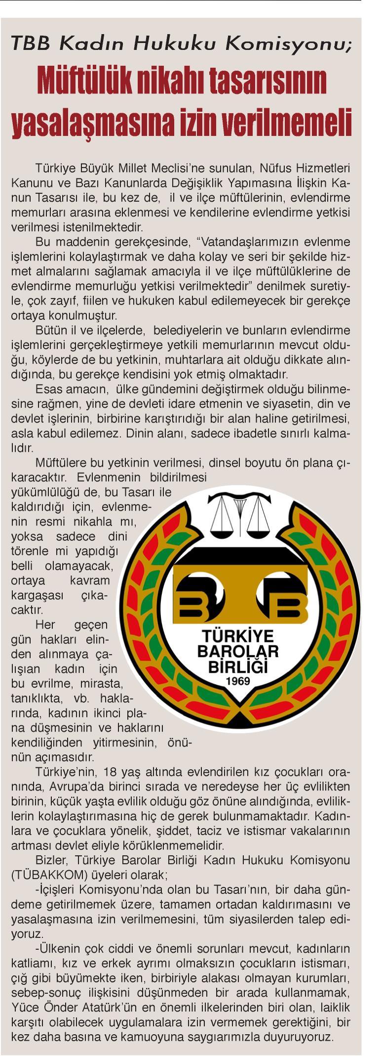 Yerel - Burdur, TÜBAKKOM. Müftülük nikahı tasarısının yasalaşmasına izin verilmemeli