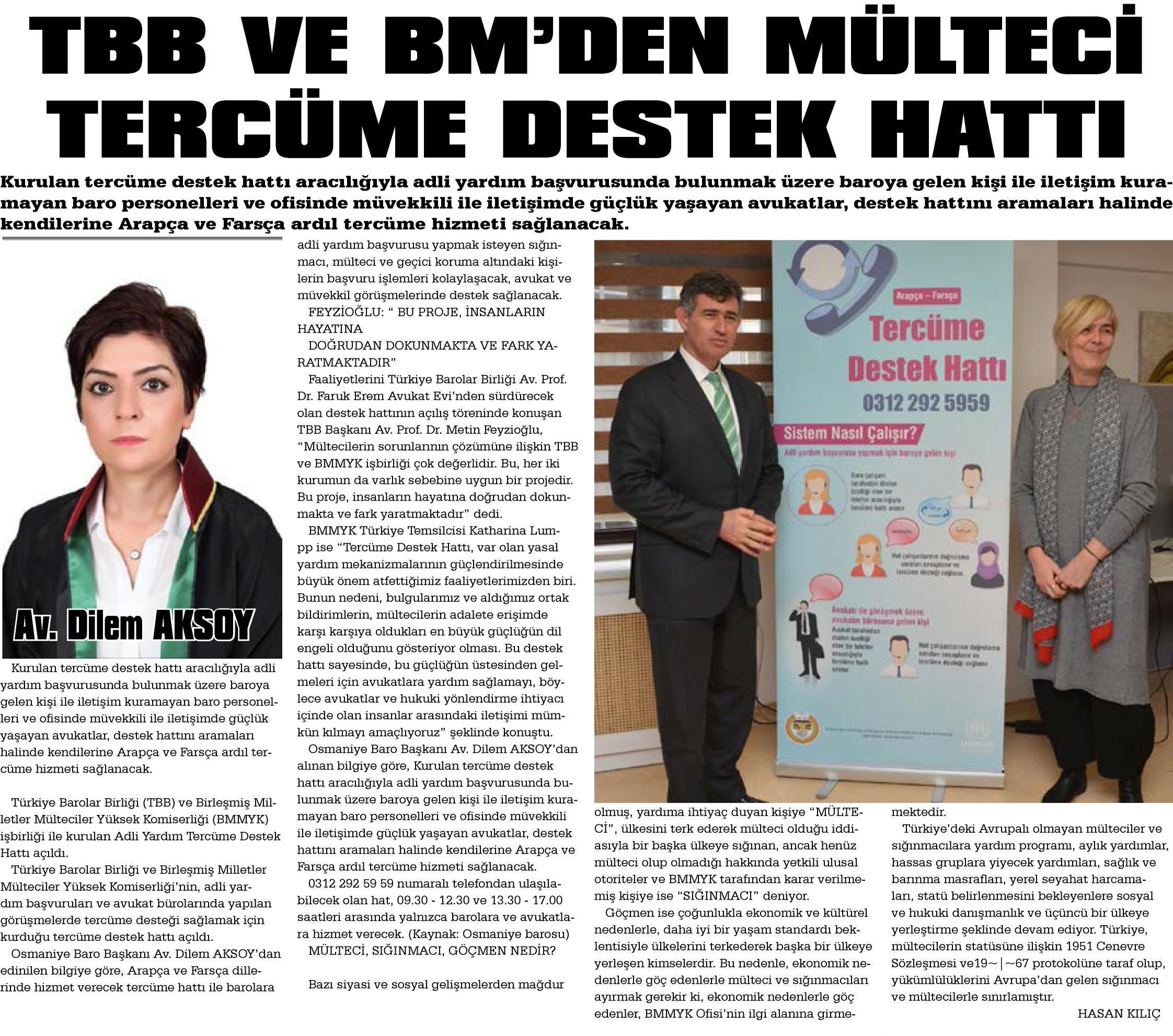Yurt Gazetesi, TBB ve BM'den Mülteci Tercüme Destek Hattı