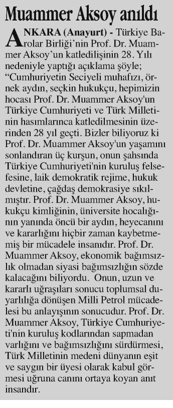 Anayurt, Muammer Aksoy anıldı
