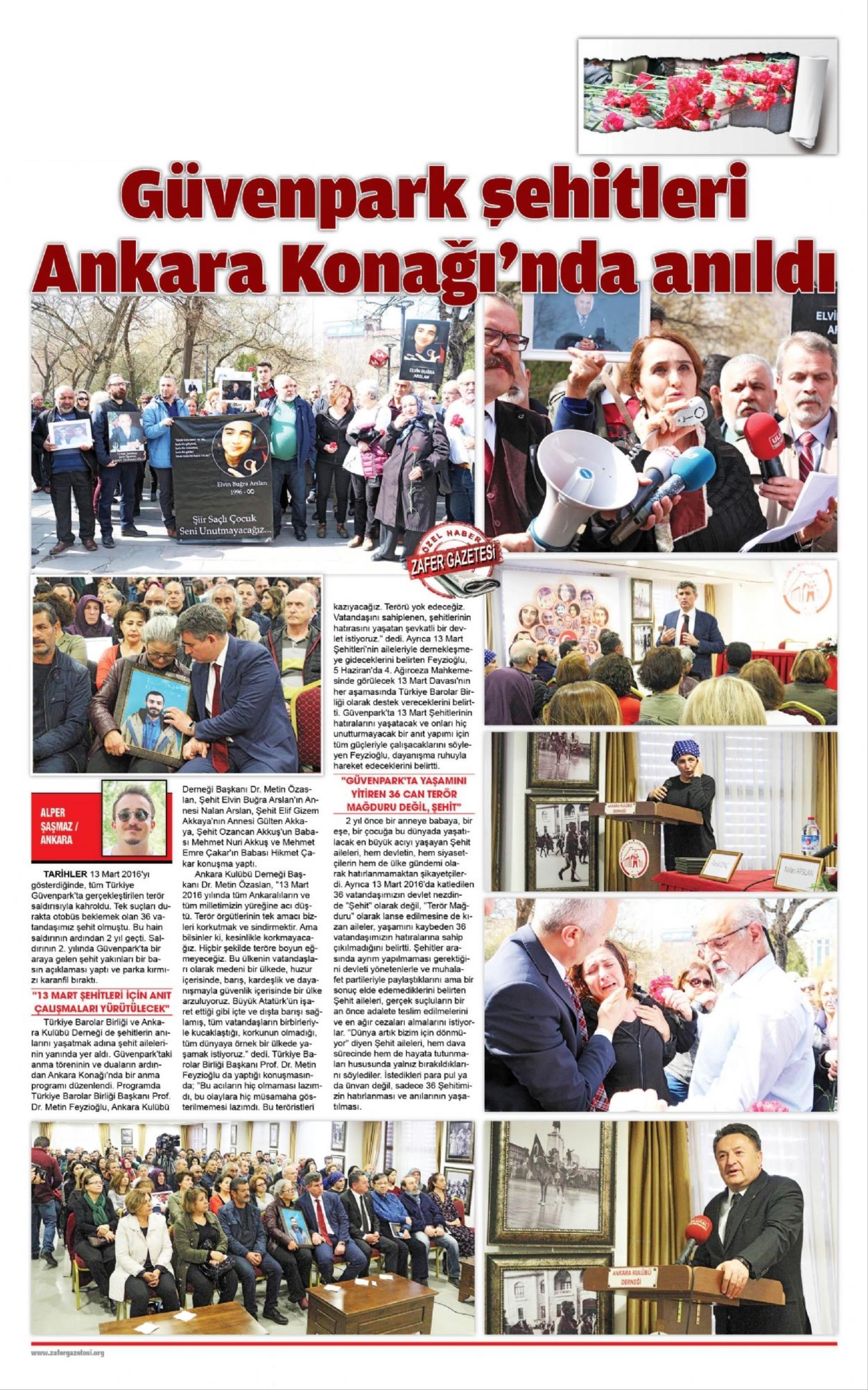 Yerel - Zafer, Güvenpark şehitleri Ankara konağı'nda anıldı