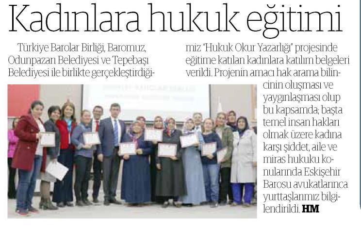 Yerel - Eskişehir Yenigün, Kadınlara hukuk eğitimi