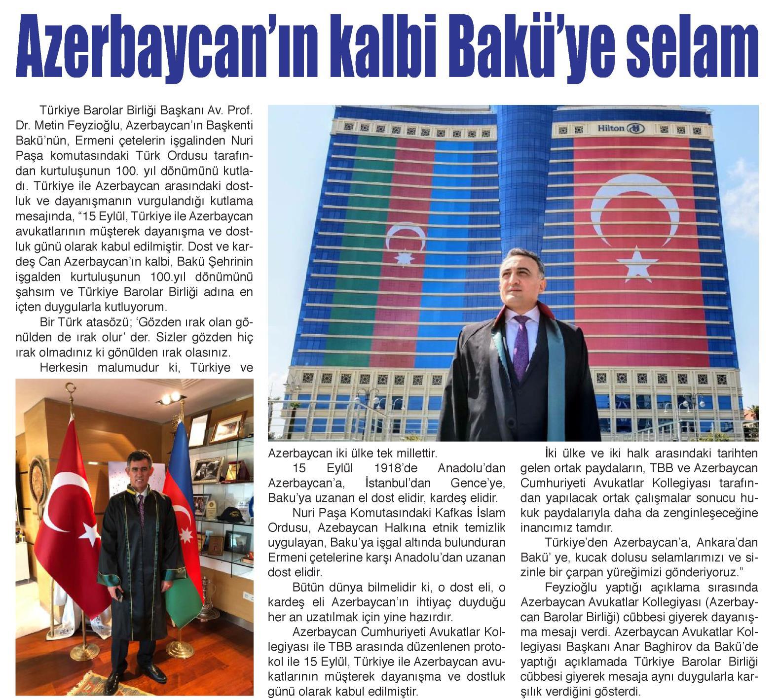 Yerel - Burdur, Azerbaycan'ın kalbi Bakü'ye selam