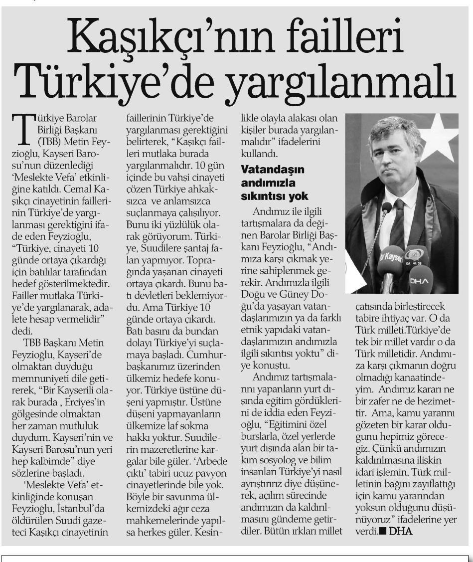 Haber Ekspres, Kaşıkçı'nın failleri Türkiye'de yargılanmalı
