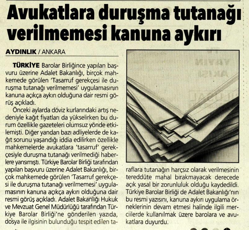 Aydınlık, Avukatlara duruşma tutanağı verilmemesi kanuna aykırı