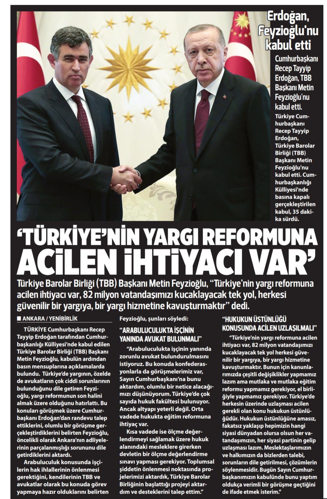Yeni Birlik, ''Türkiye'nin yargı reformuna acilen ihtiyacı var''