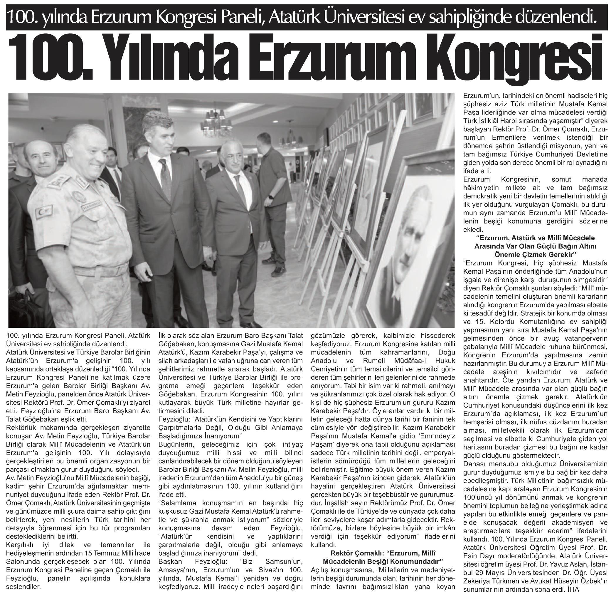 Milletin Sesi, 100.yılında Erzurum Kongresi