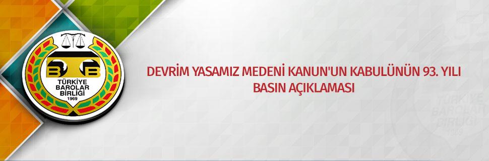 DEVRİM YASAMIZ MEDENİ KANUN'UN KABULÜNÜN 93. YILI BASIN AÇIKLAMASI